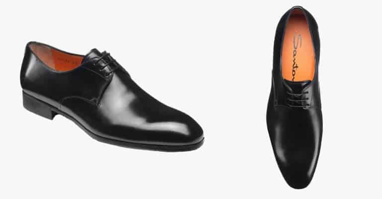 Black plain toe derby shoe.