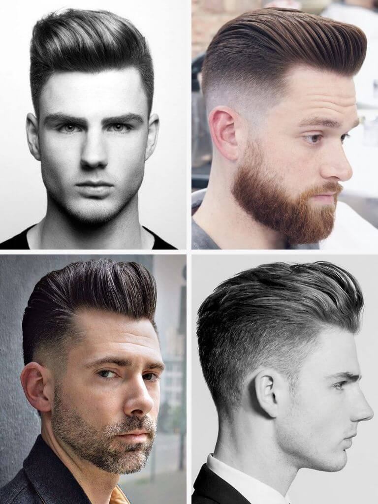 4 examples of the pompadour hairstyle.