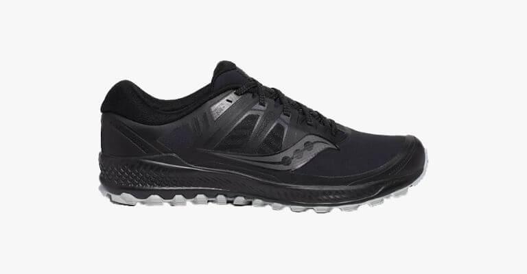 Black running shoe.