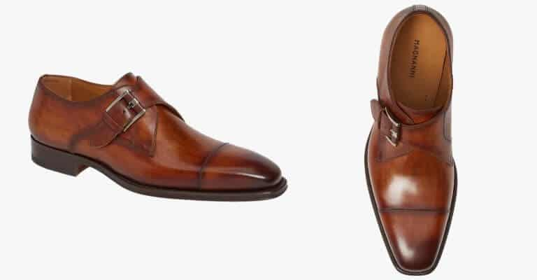Brown leather single-monk strap shoe.