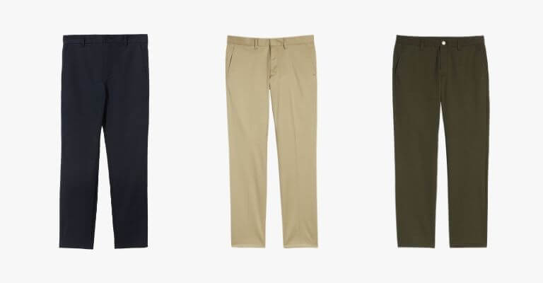3 different colors of chino pants.
