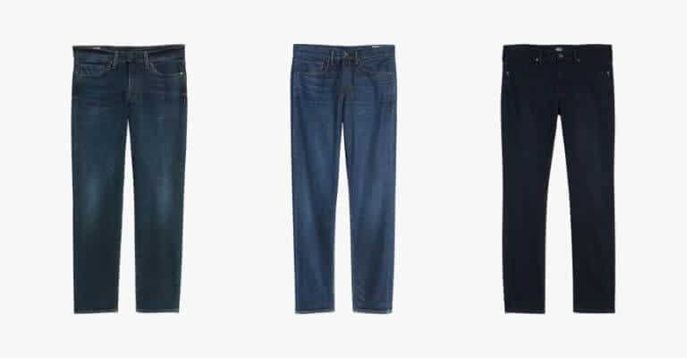 3 pairs of jeans in different colors.