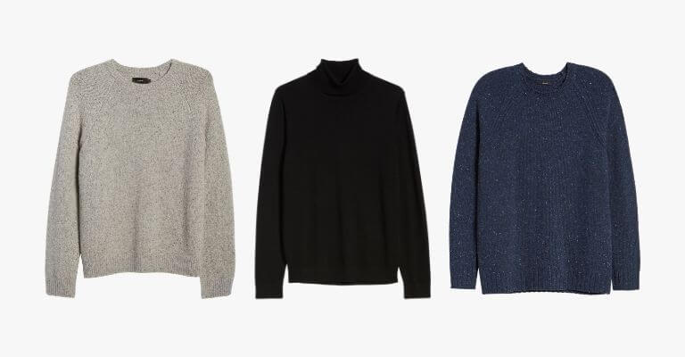 3 sweaters in different colors.