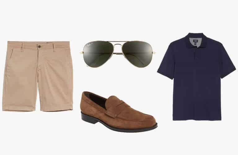 Khaki shorts, blue polo, brown suede penny loafer, and sunglasses.
