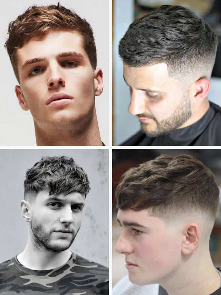4 examples of the textured crop hairstyle.