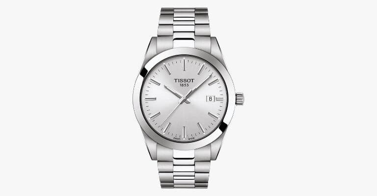 Silver metal watch.