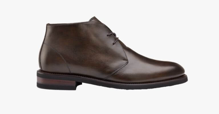 Dark brown leather chukka boot.