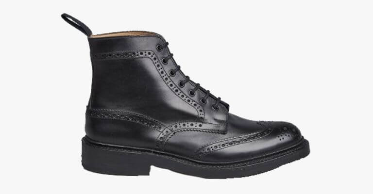 Black leather brogue boot.