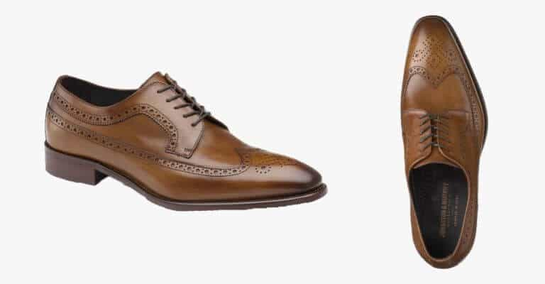 Brown leather wingtip derby shoes.