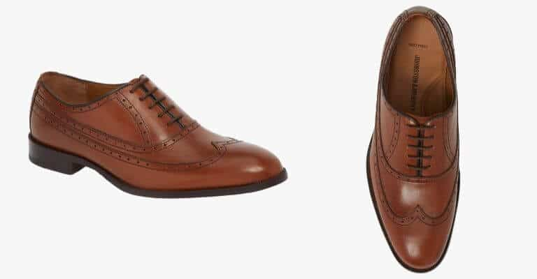 Brown wingtip Oxford shoes.