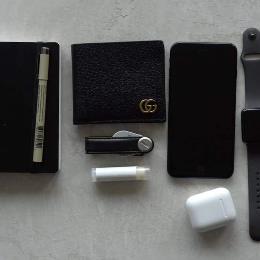 Flatlay of everyday carry items.