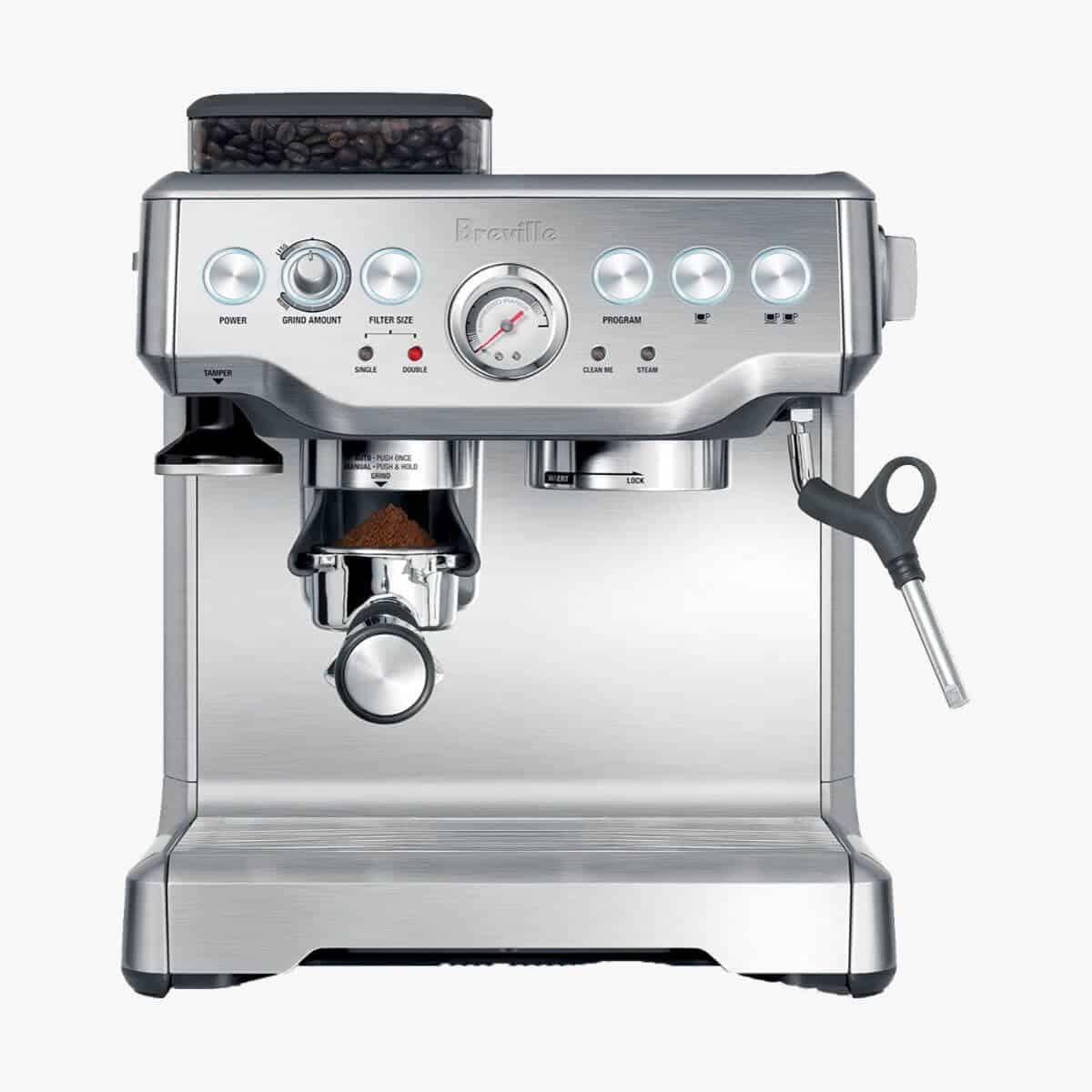 Breville silver espresso machine.