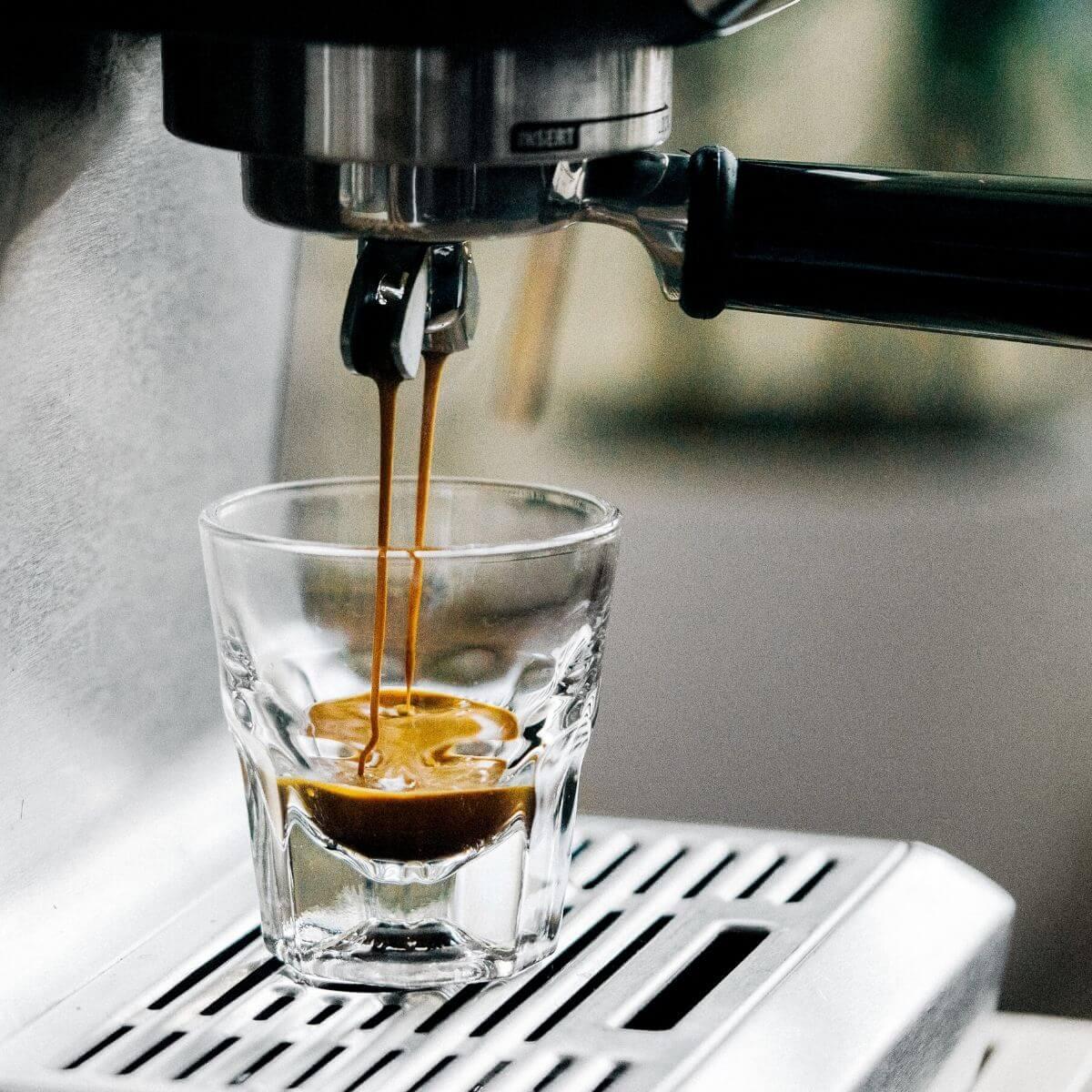 Close-up of an espresso shot.