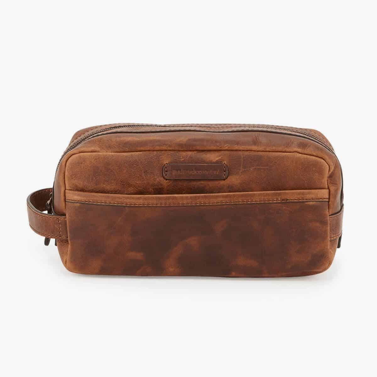 Cognac leather Dopp kit.