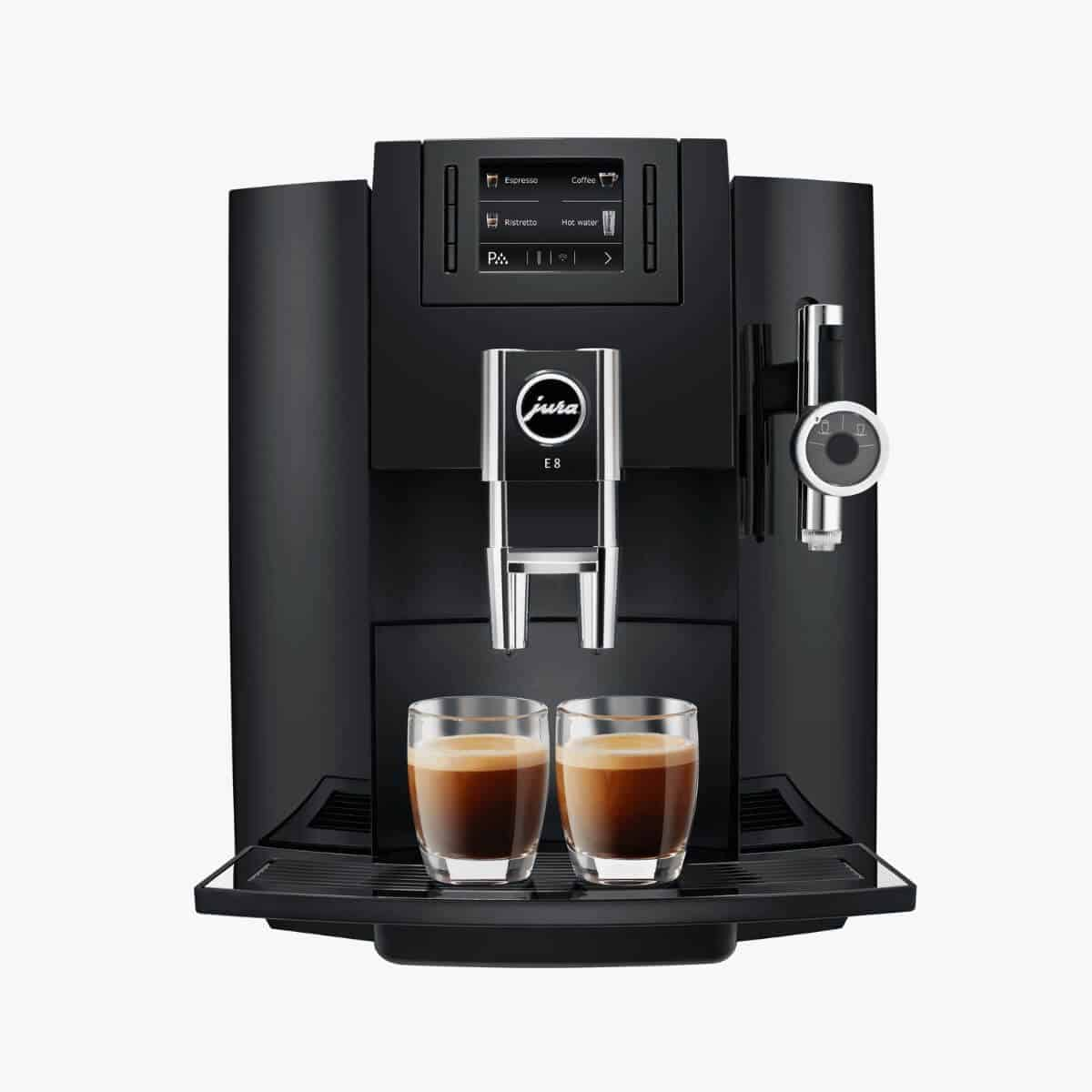 Jura E8 black espresso machine.