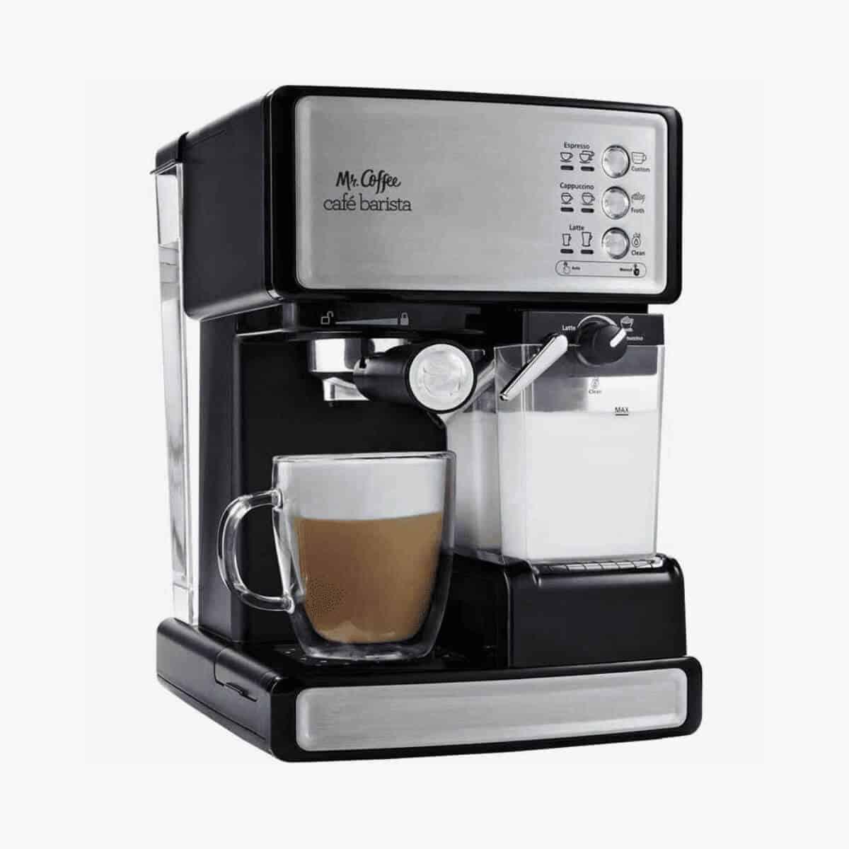 Mr. Coffee espresso machine with a mug.