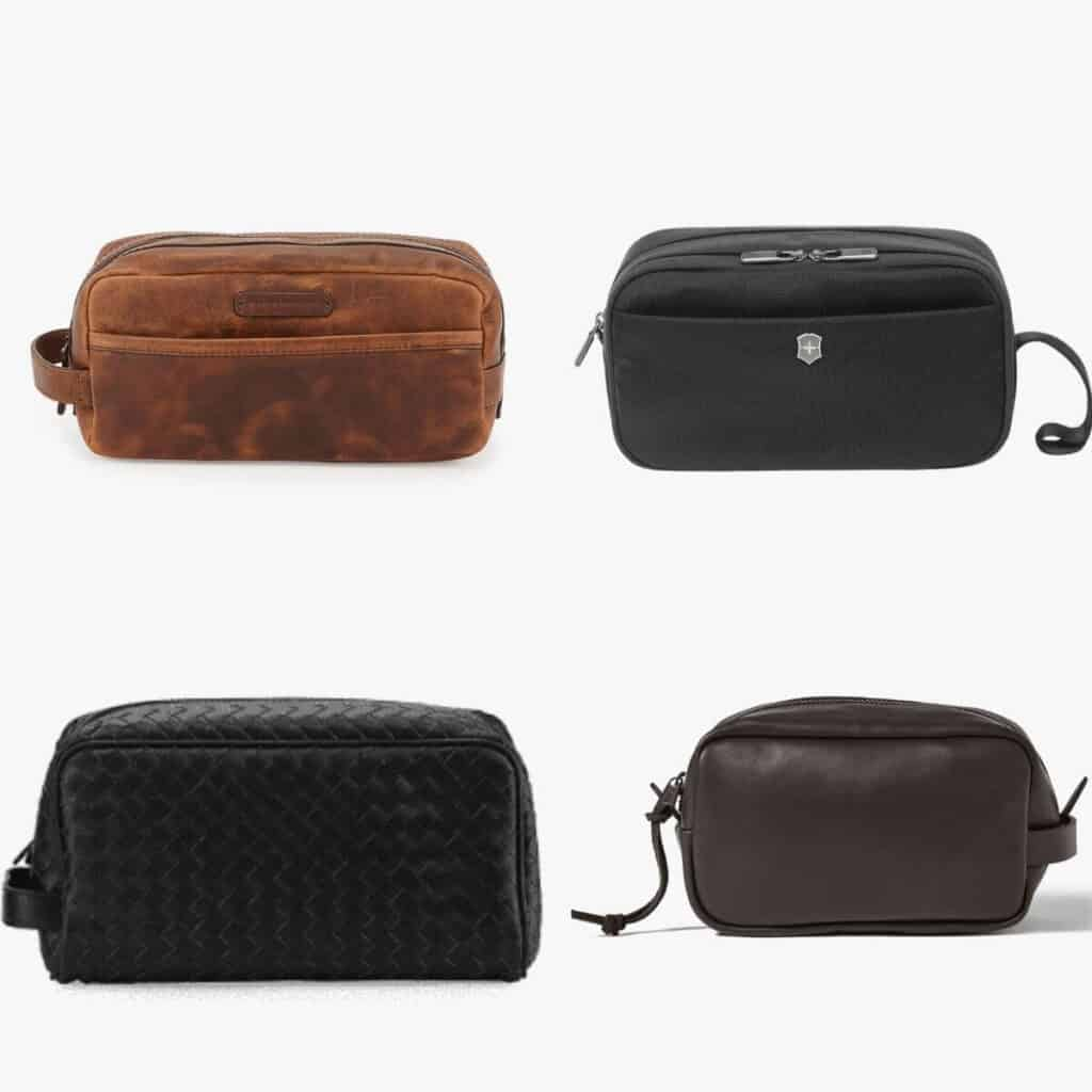 Four toiletry bags.