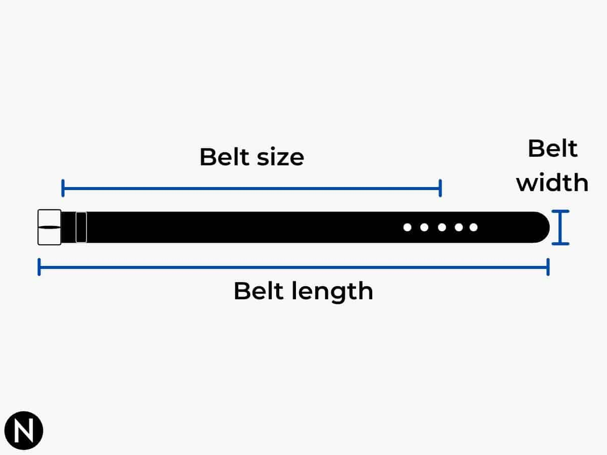 Diagram showing the different parts of a belt.