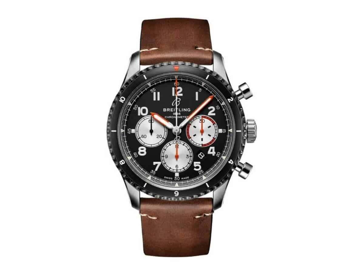Breitling chronograph watch with a brown leather strap.