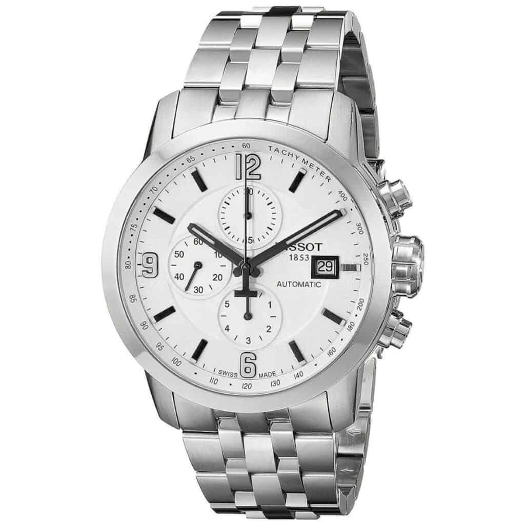 Silver chronograph watch.