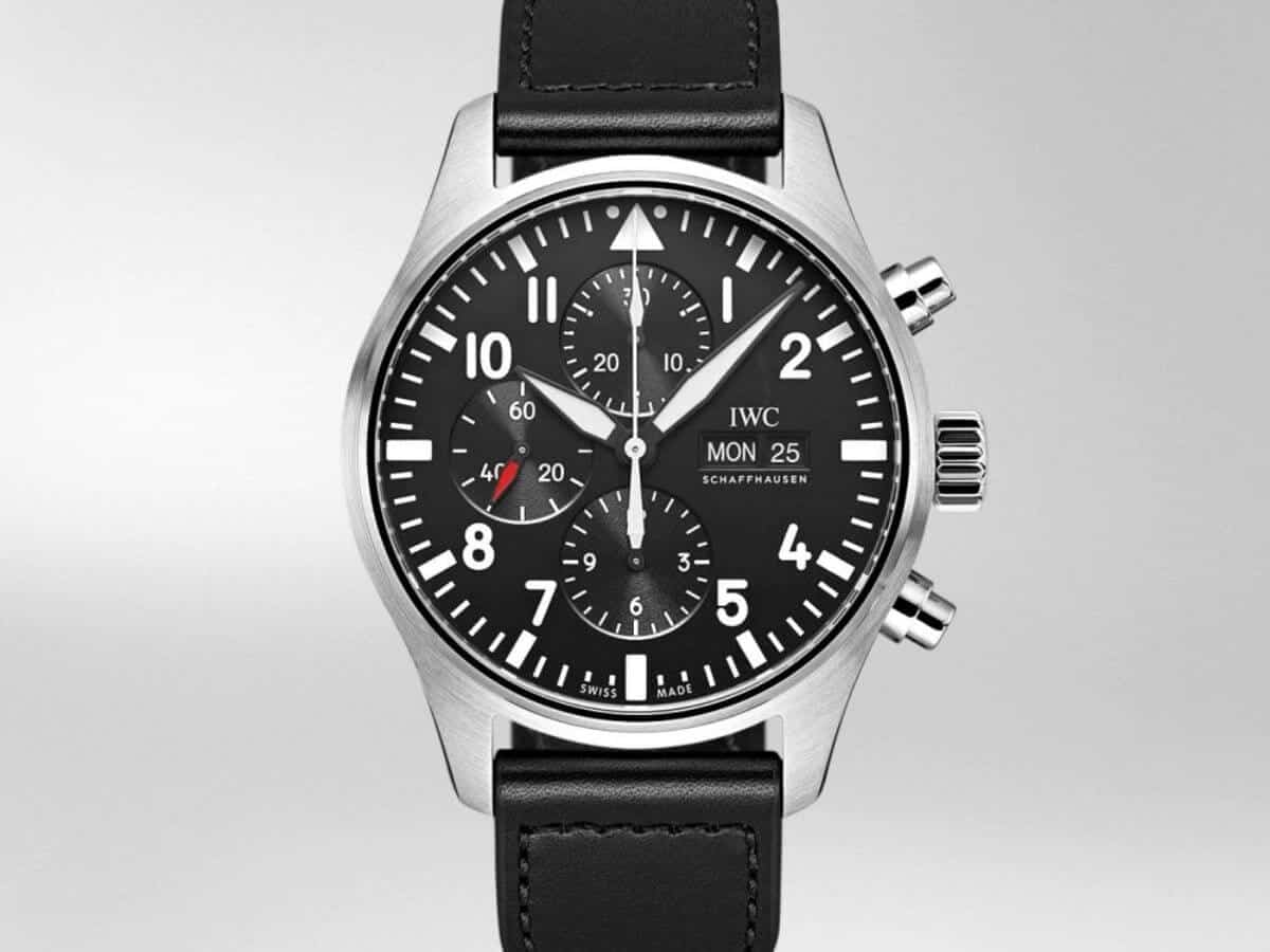 IWC chronograph watch with a black leather strap.