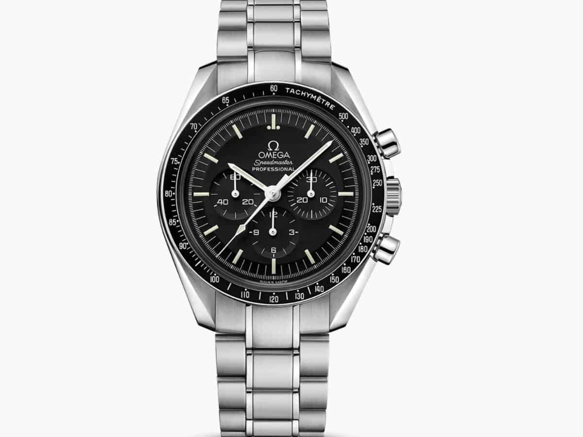 Silver Omega Speedmaster chronograph watch.