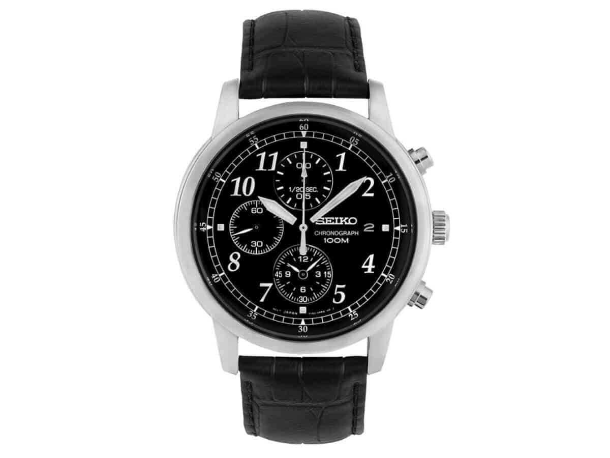 Seiko chronograph watch with a black leather strap.
