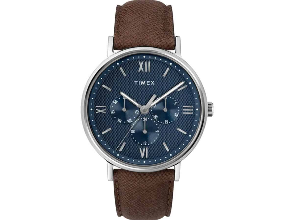 Timex Southview chronograph watch with a brown strap and blue face.