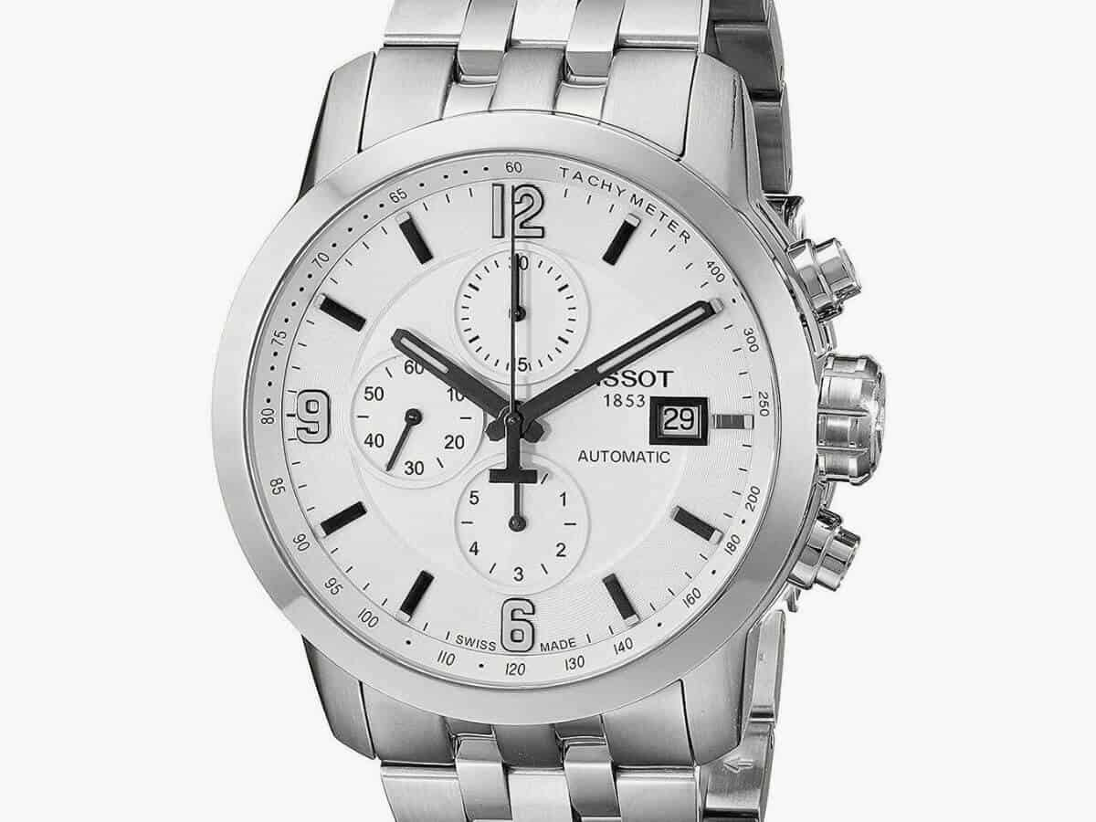 Tissot silver chronograph watch.