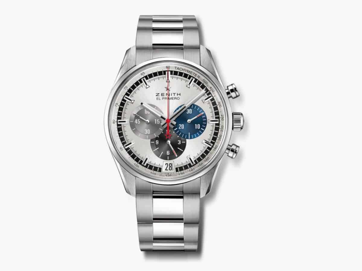 Silver Zenith chronograph watch.