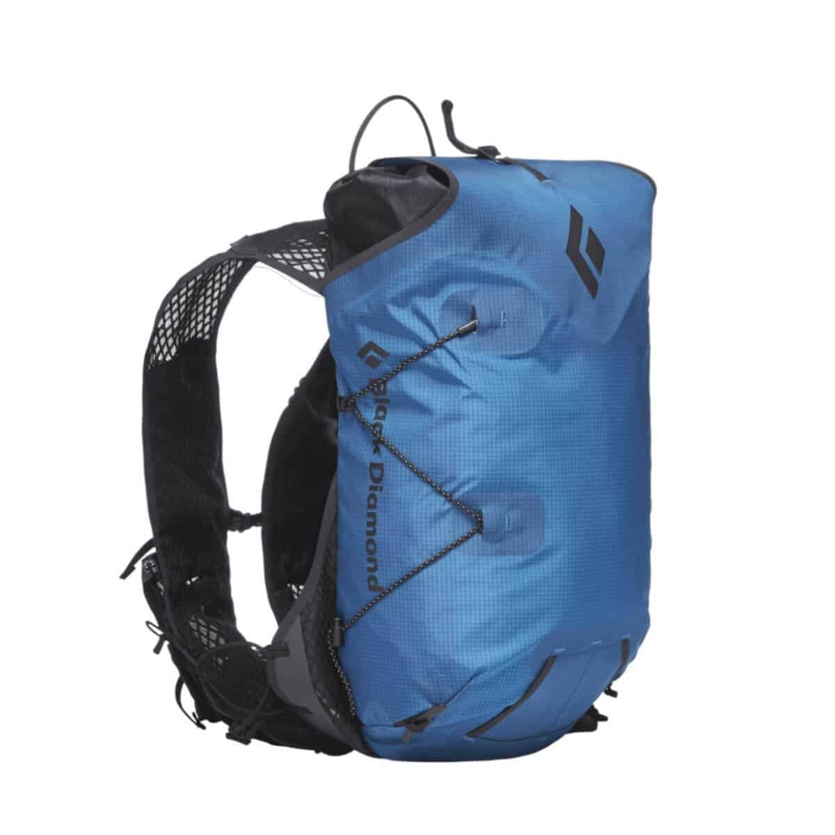 Blue and black hydration backpack.