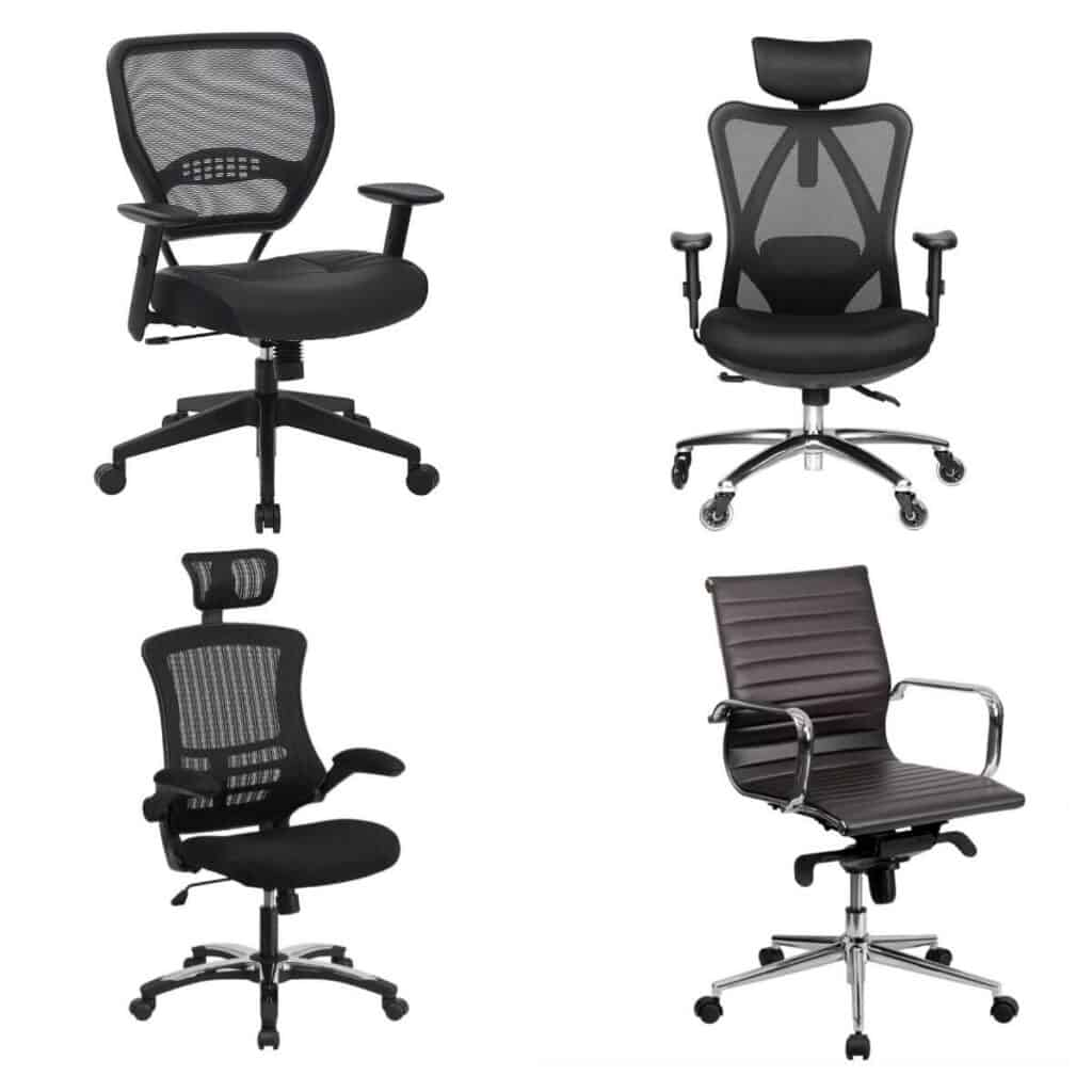 Four black home office chairs.