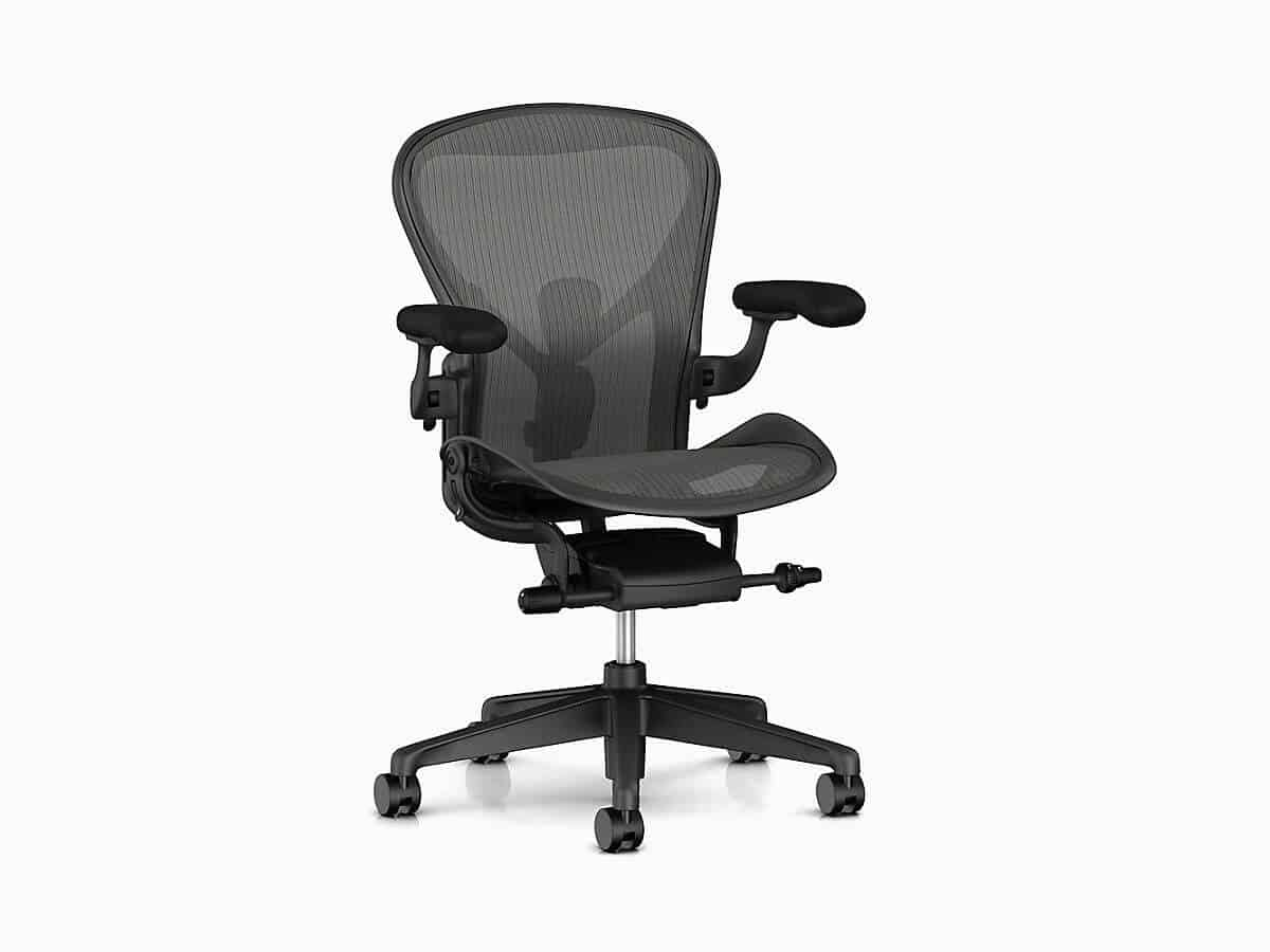 Herman Miller Aeron mesh home office chair.