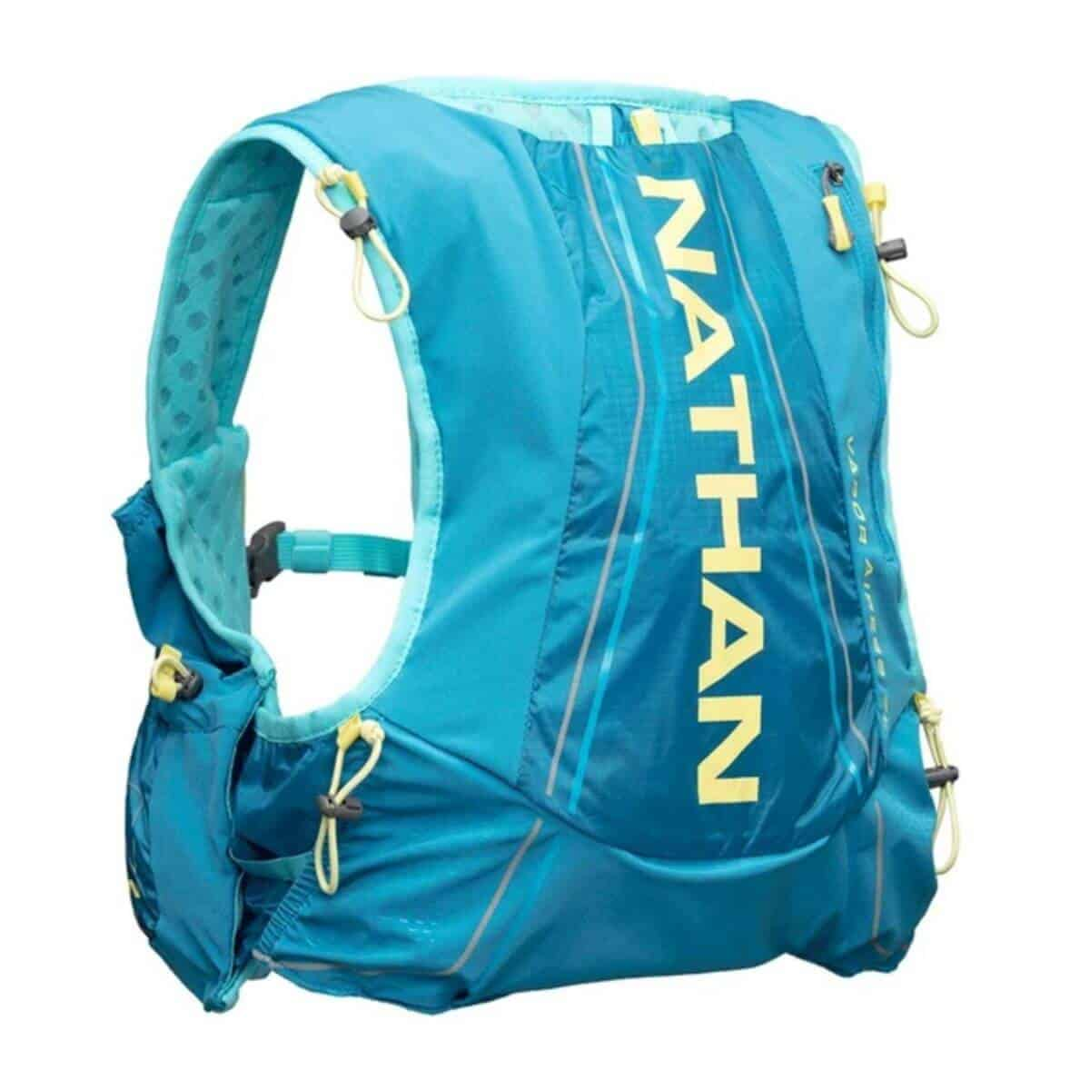 Blue and yellow hydration pack.