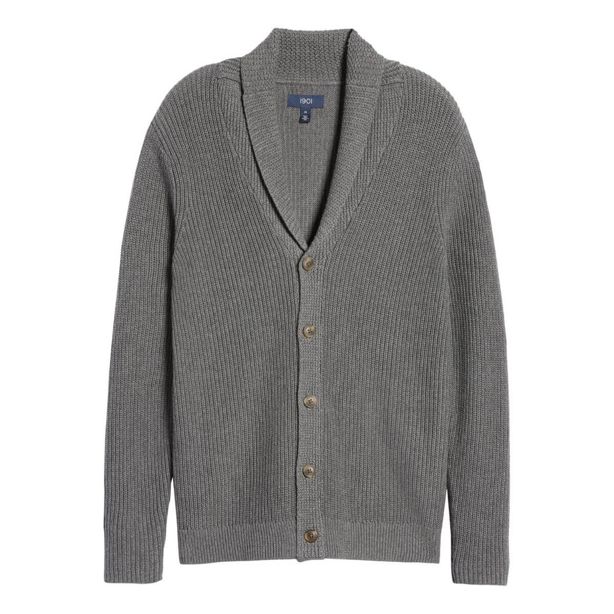 Grey cardigan sweater.