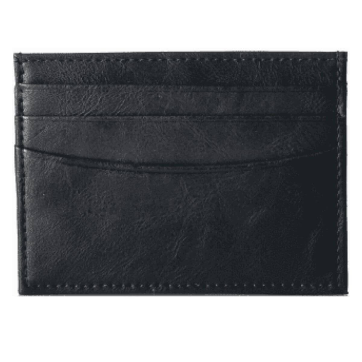Black leather cardholder wallet by Amazon Essentials.