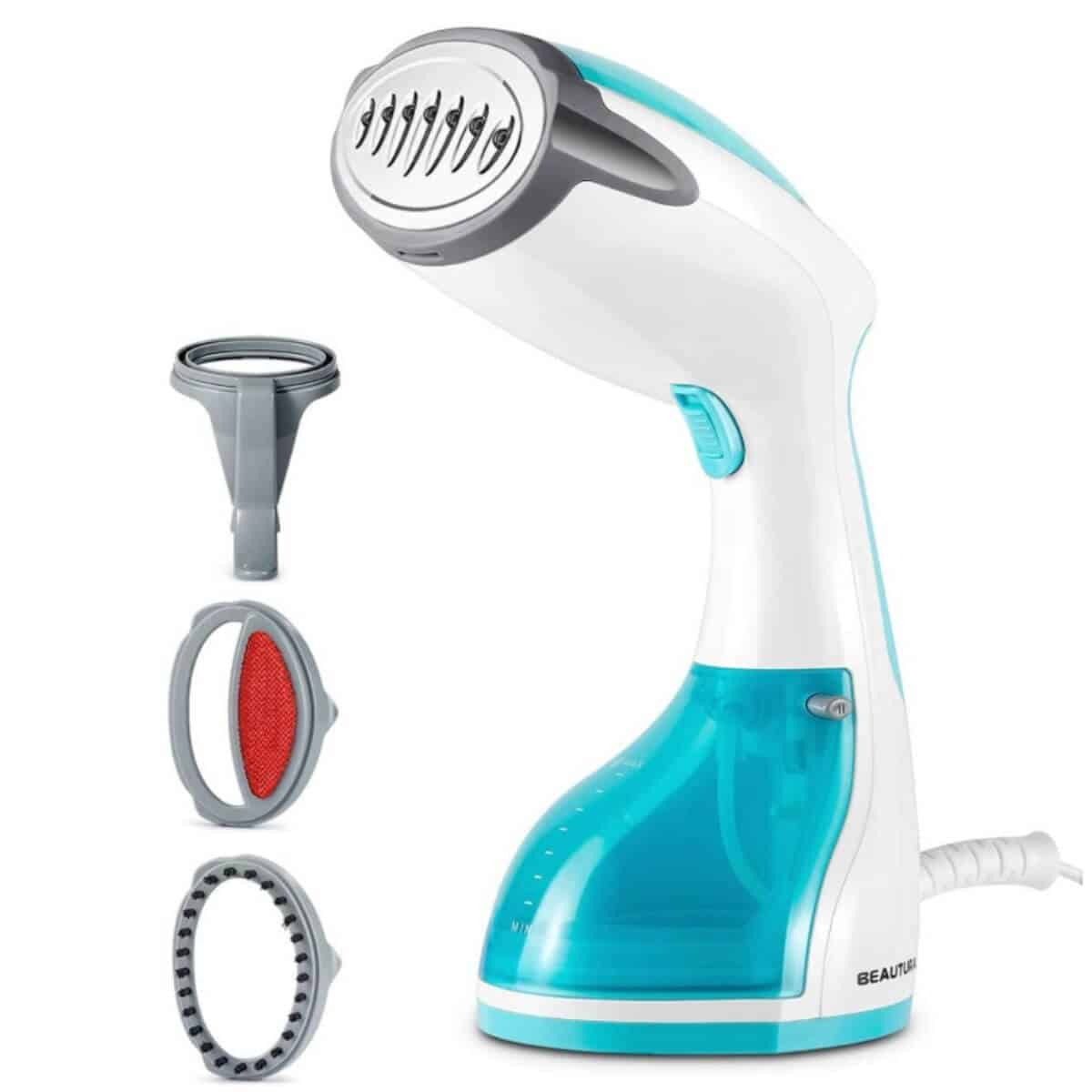 Blue and white handheld steamer.
