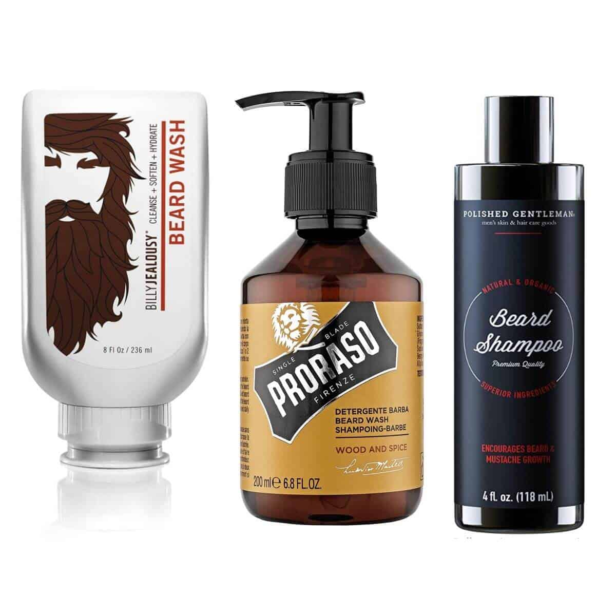 Three bottles of beard shampoo.