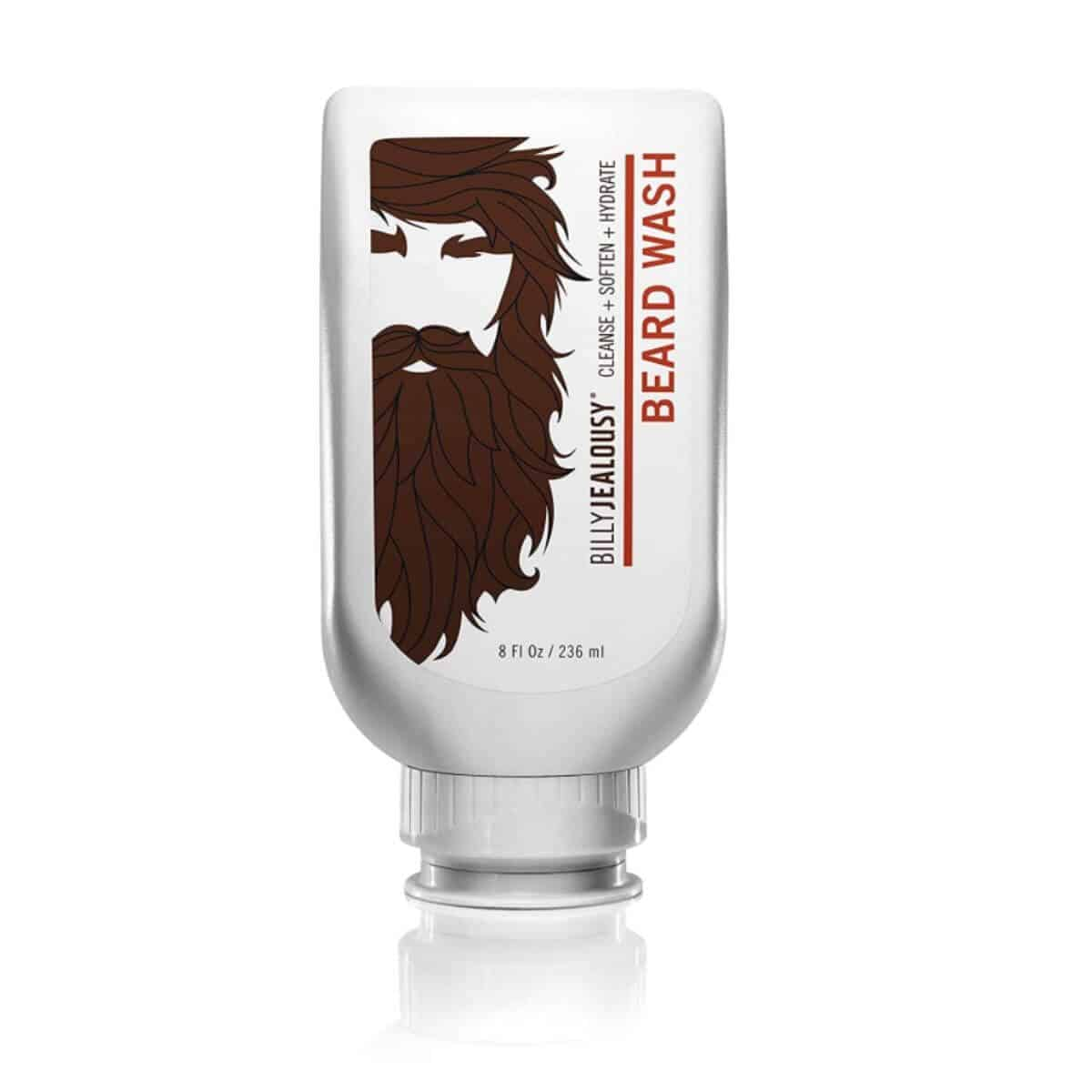 White bottle of beard wash.