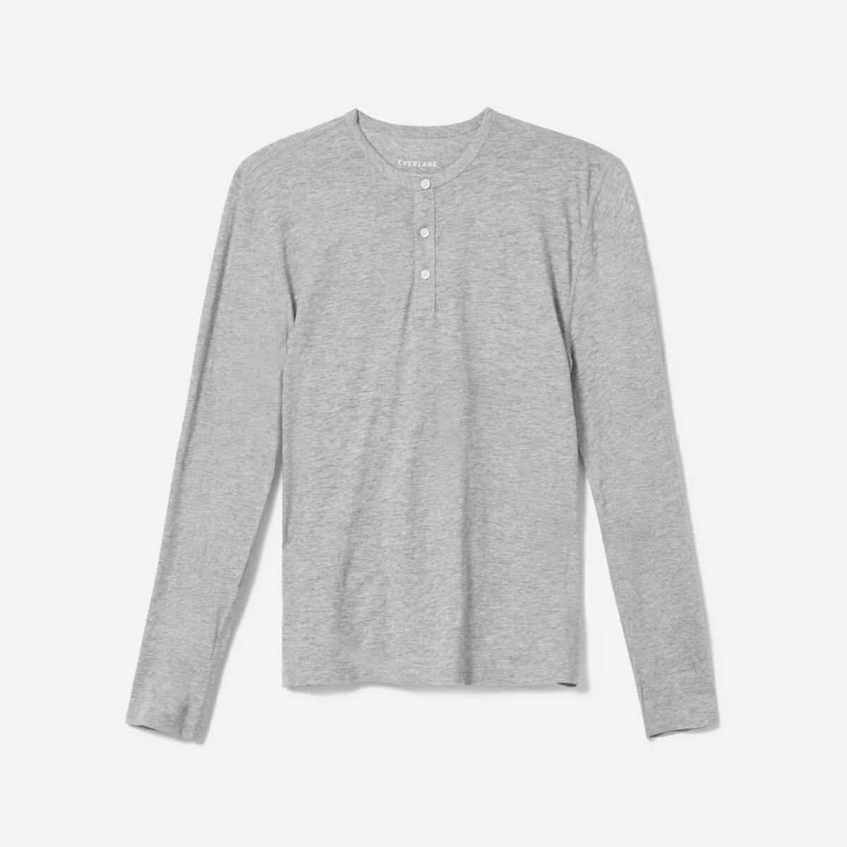 Grey long-sleeve henley shirt.