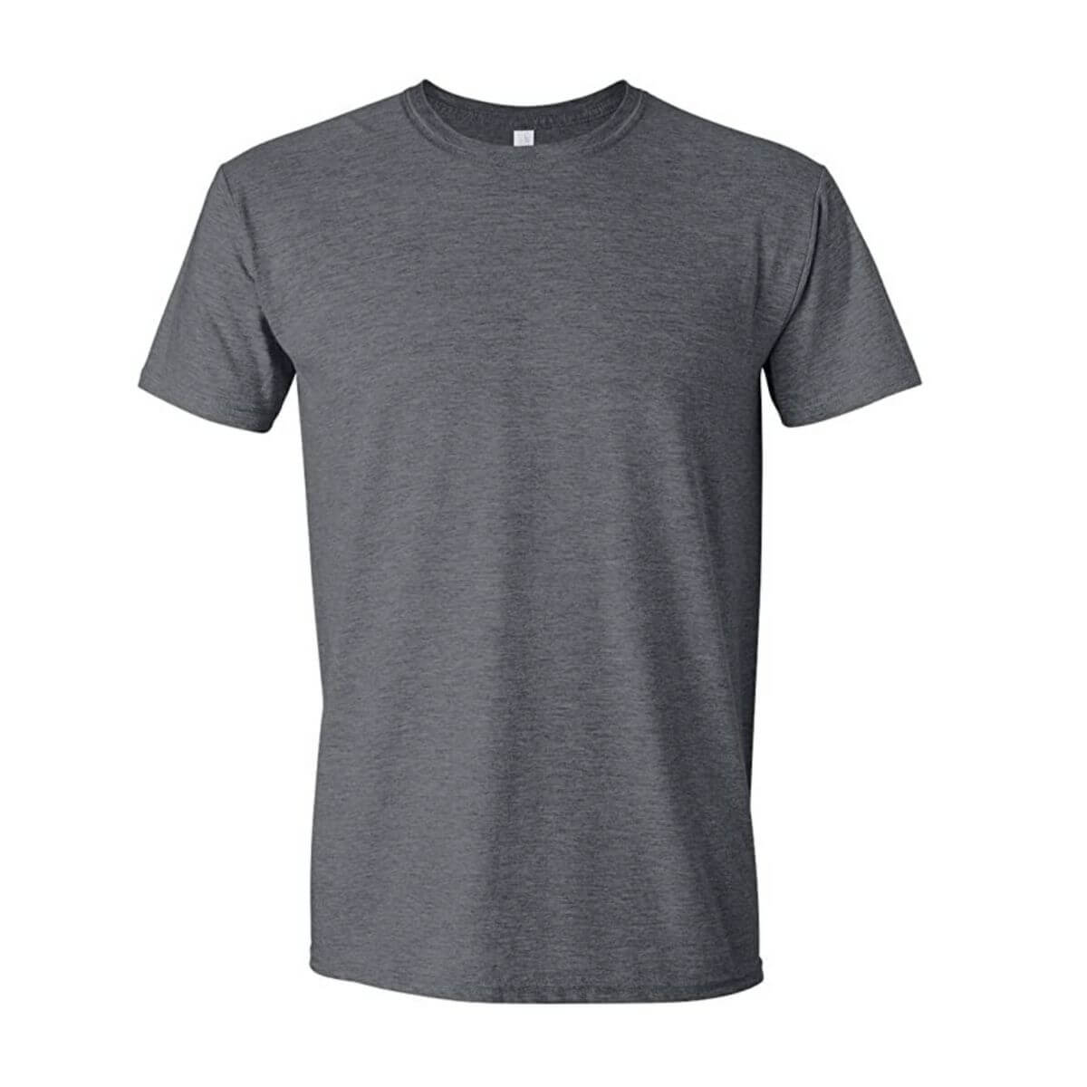 Grey short-sleeve t-shirt.