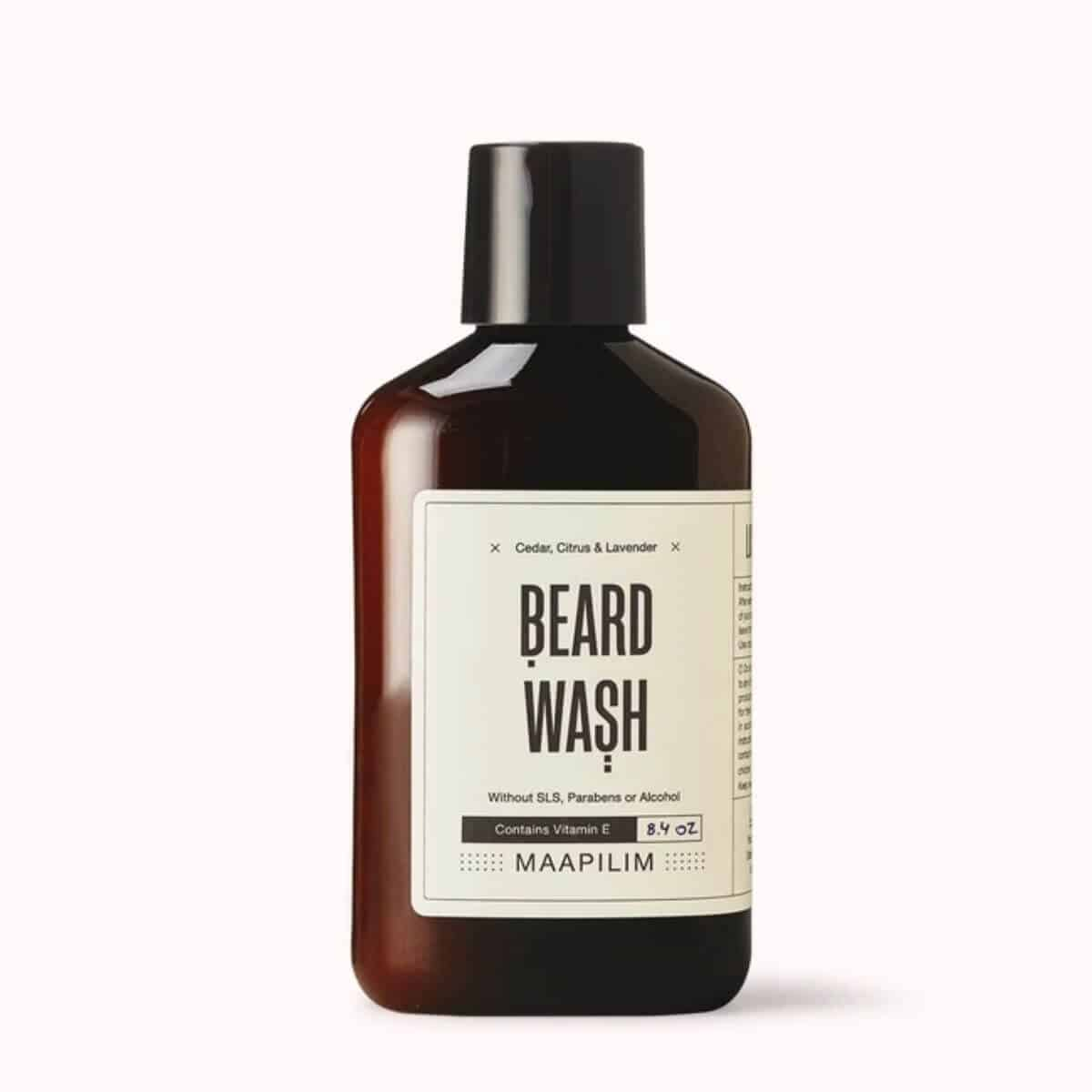 Amber bottle of beard wash.