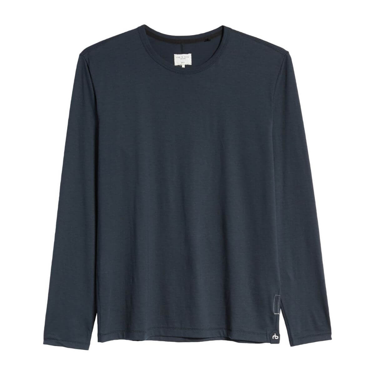 Navy blue long-sleeve t-shirt.