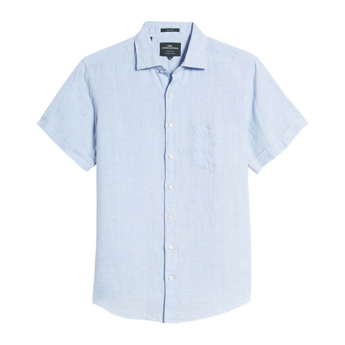 Light blue linen button-down shirt.