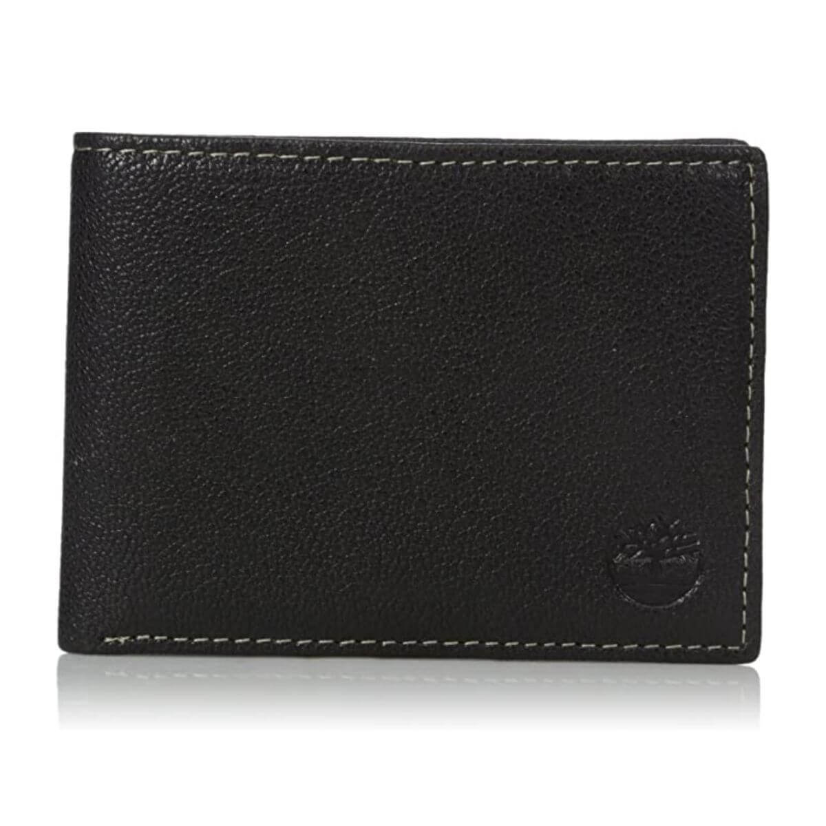Black leather wallet with white seams.