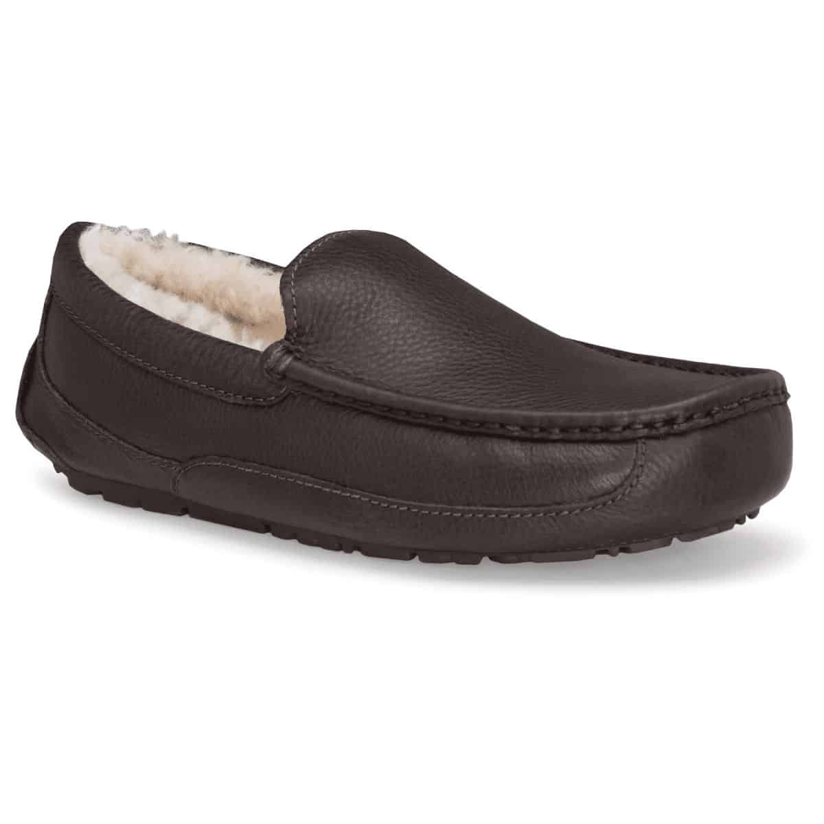 Brown leather moccassin slipper.
