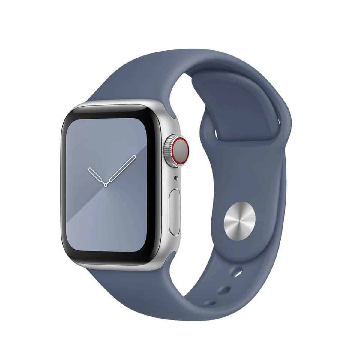 Apple Watch with a blue silicone band.