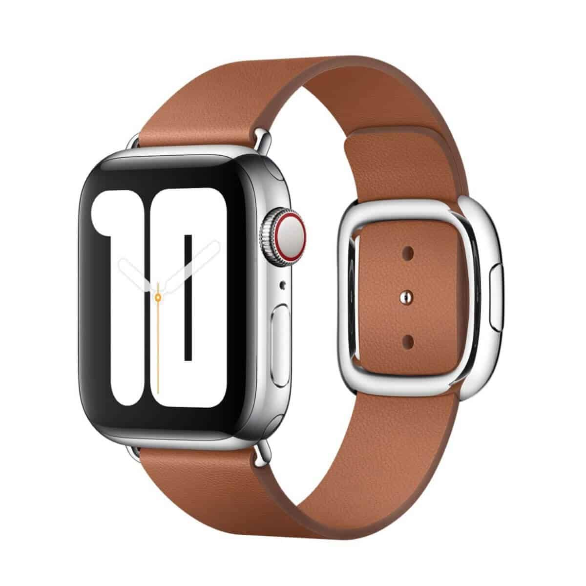 Apple Watch with a brown leather band.