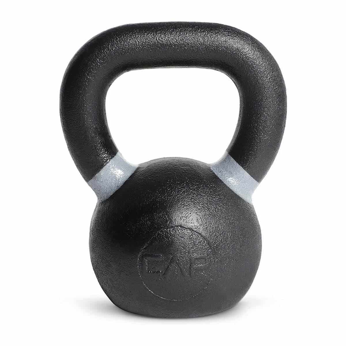 Black kettlebell with grey rings.