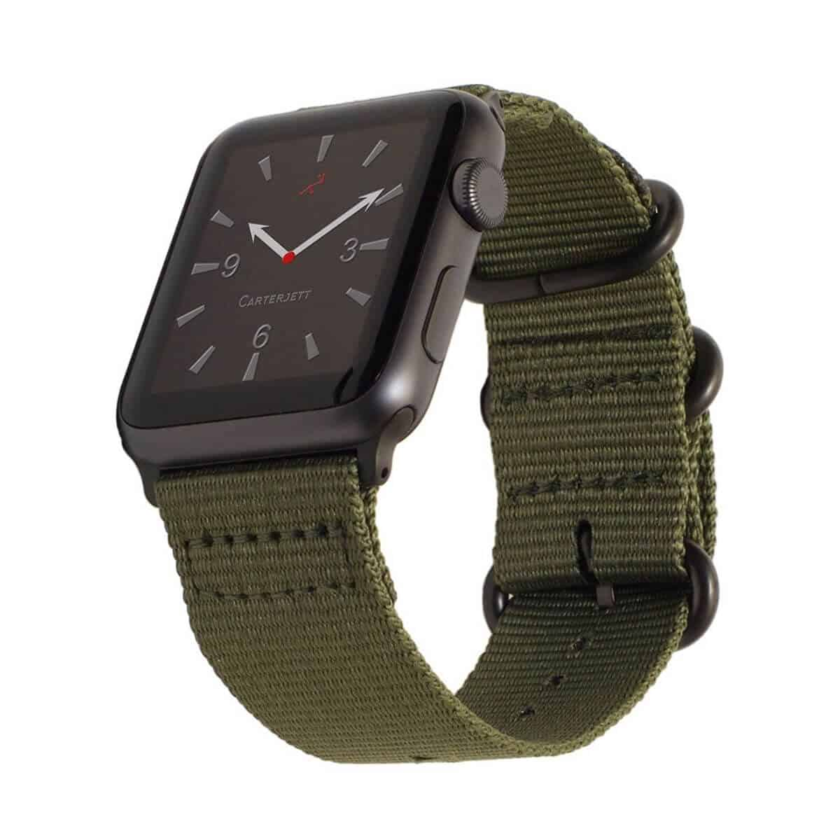 Apple Watch with an olive green nylon band.
